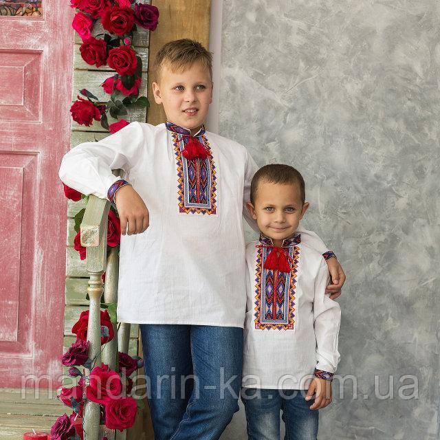 Вышиванка для мальчика на домотканой ткани