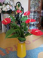 Цветы искусственные Букет Антуриум (5 цветков)