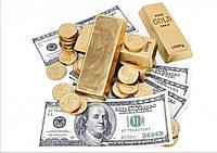 """Вафельная картинка деньги """"Доллары с золотом"""""""