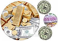 """Вафельная картинка деньги """"Доллары, евро и золото"""""""