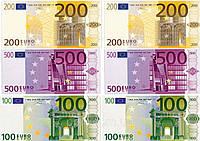 """Вафельная картинка деньги """"Евро"""""""