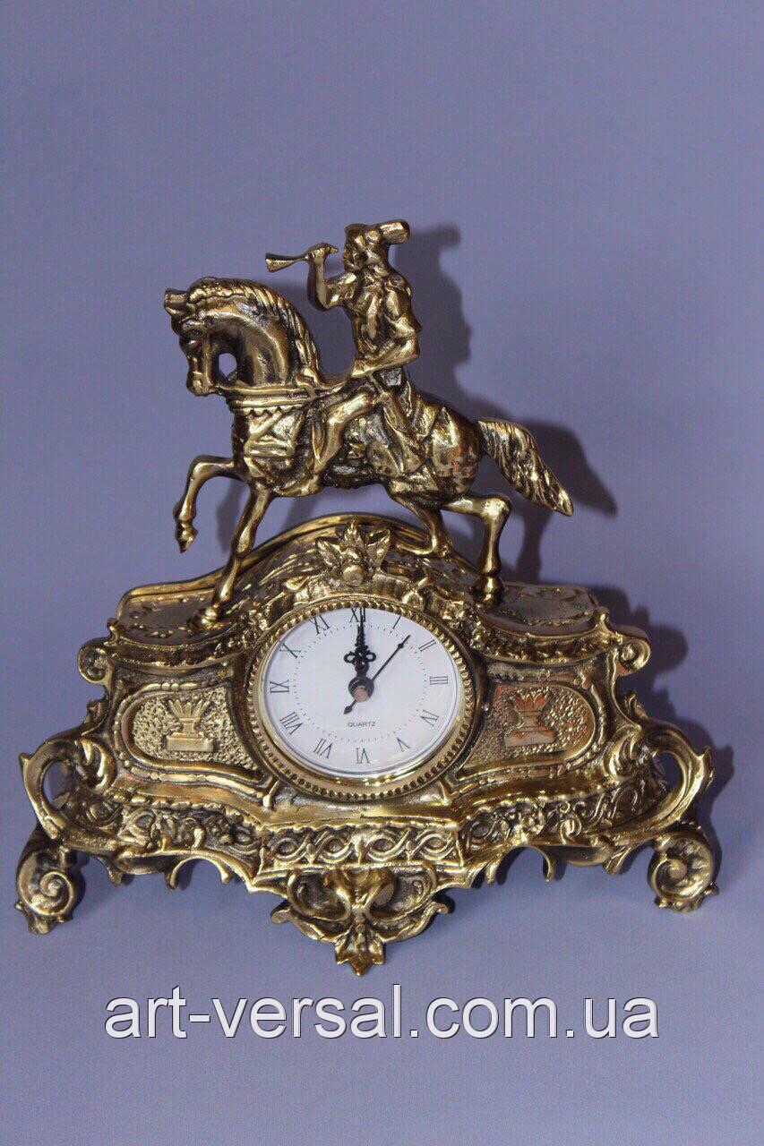 """Часы каминные """"Охота"""" бронза"""
