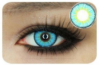 Лінзи контактні блакитні (підходить для темних лаз) + контейнер в ПОДАРУНОК