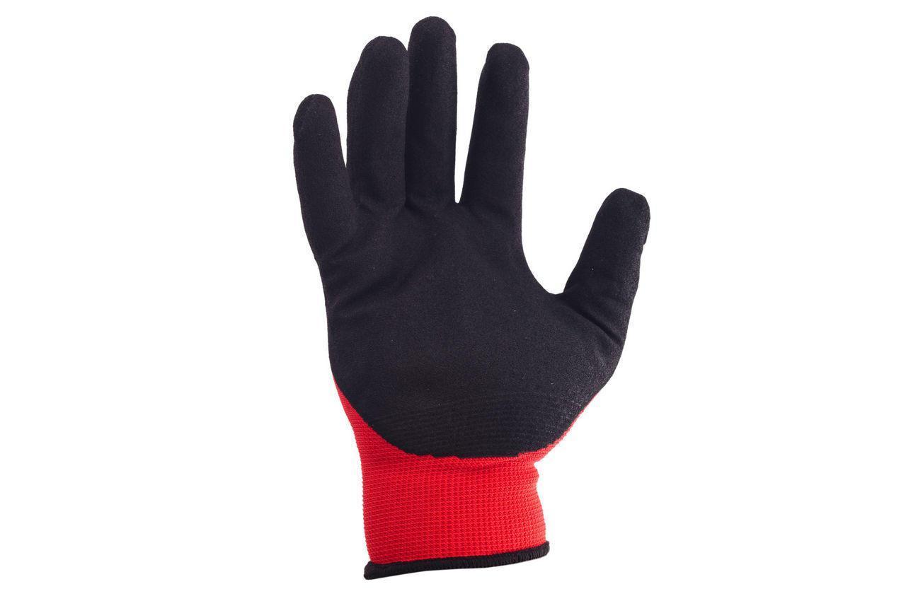 Перчатки Рабочие Нейлоновые стретч с ПВХ покрытием Size - 10 (черный - красный) в упаковке 12 пар