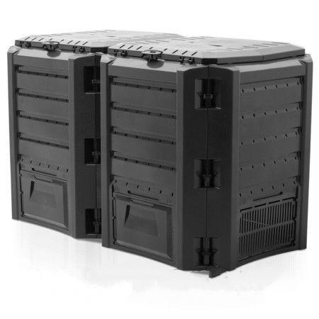 Дачный компостер Compogreen, 800L/1200L, черный/зеленый, с крышкой, прочный пластик