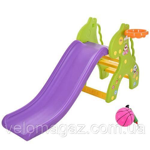 ГІРКА ЖИРАФ GREEN, зелено-фіолетове з баскетбольним м'ячем і кільцем!