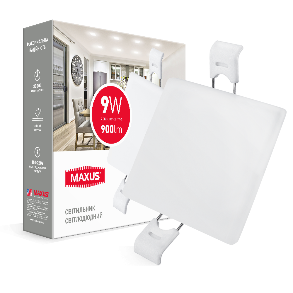 Светодиодный врезной светильник 1-MSP-0941-S MAXUS SP edge 9W 4100К Квадрат