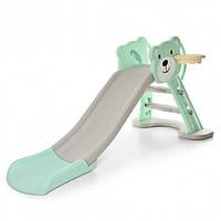 Горка детская пластиковая Bambi HF-H008-4, зелено-бежевая, фото 1