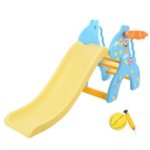 Горка детская пластиковая Bambi жираф, голубая