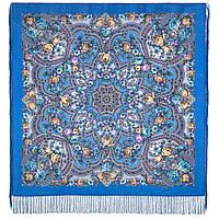 Серебряный ручей 1851-13, павлопосадский платок шерстяной с шелковой бахромой