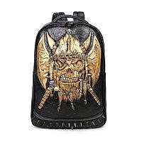 Черный объемный рюкзак Череп золото
