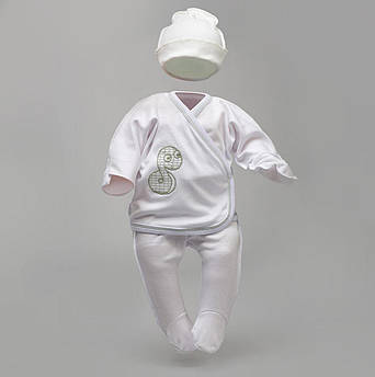 """Набор белый для новорожденных """"Змея"""": распашонка, ползунки, шапка     Комплект для новонародженних"""