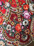 Серебряный ручей 1851-5, павлопосадский платок шерстяной с шелковой бахромой, фото 5