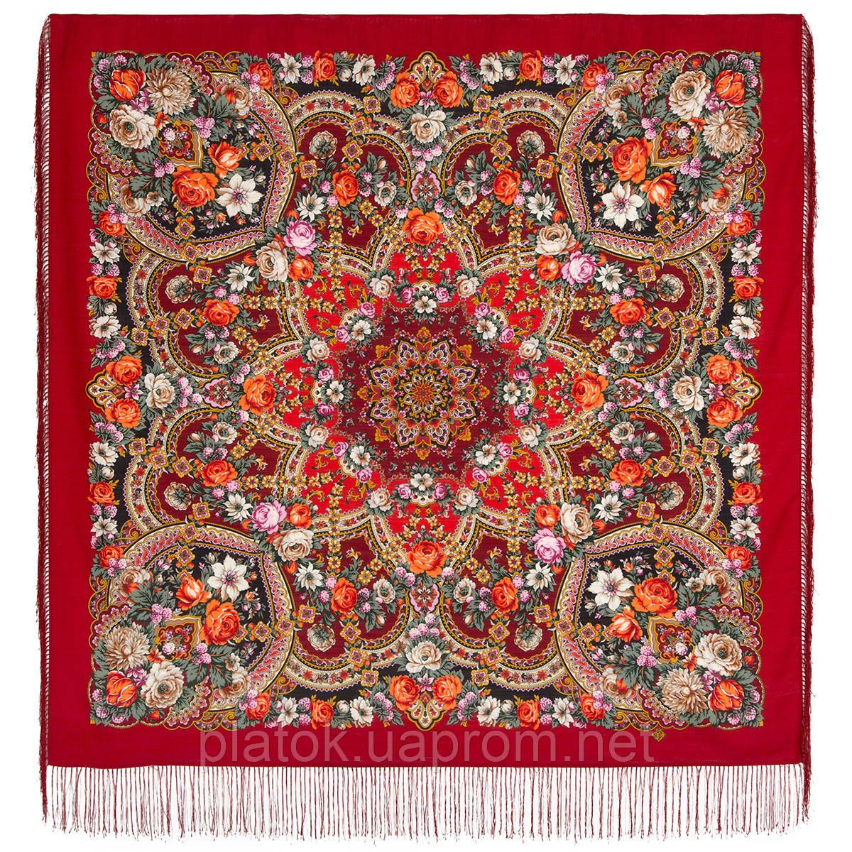 Серебряный ручей 1851-5, павлопосадский платок шерстяной с шелковой бахромой