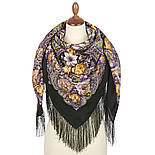Серебряный ручей 1851-9, павлопосадский платок шерстяной с шелковой бахромой, фото 2