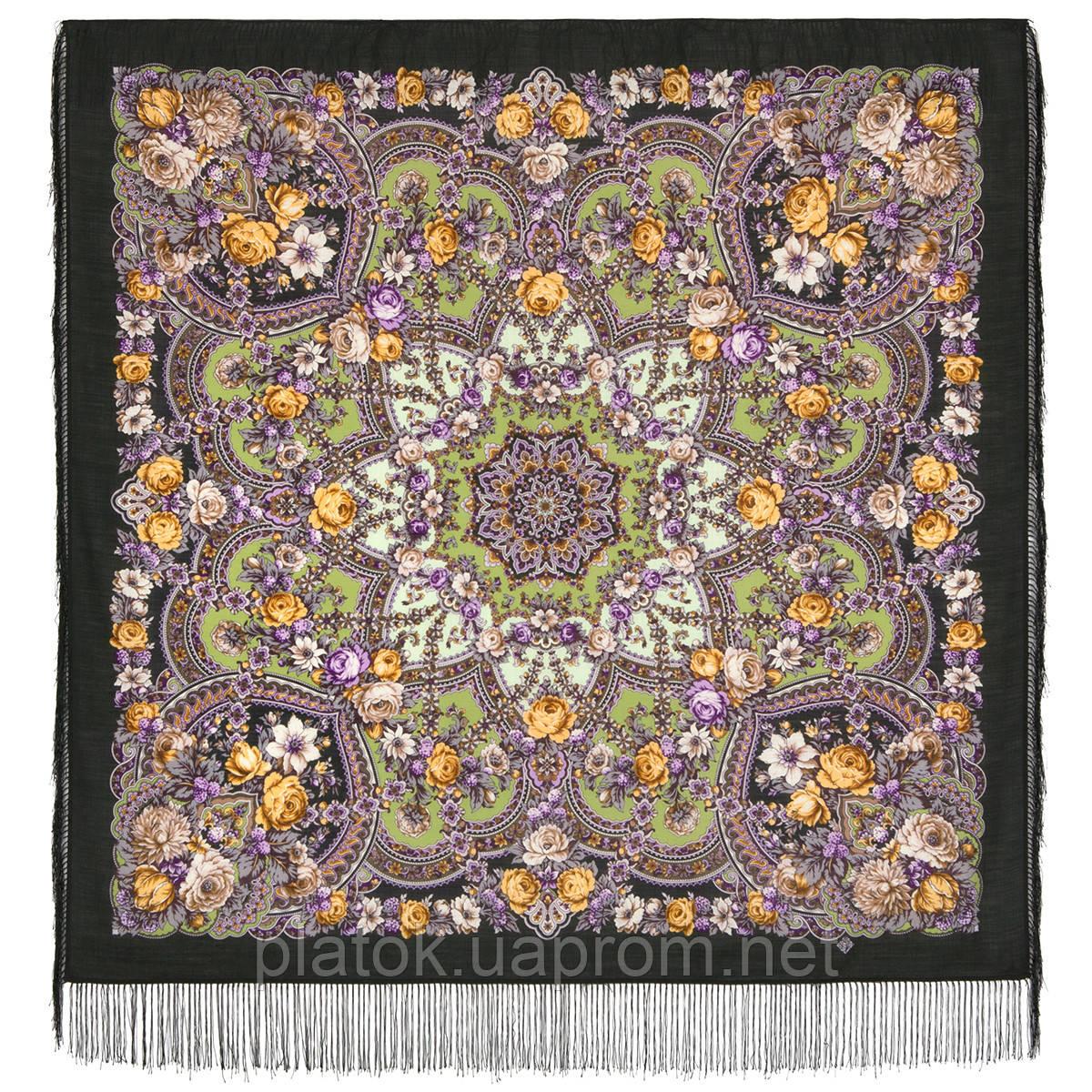 Серебряный ручей 1851-9, павлопосадский платок шерстяной с шелковой бахромой