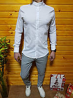 Мужская белая хлопковая рубашка с воротником стойкой