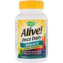 """Мультивитамины для мужчин Nature's Way """"Alive!"""" Men's, высокоусвояемый комплекс (60 таблеток)"""
