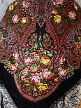 Ненаглядная 1025-10, павлопосадский платок (шаль) из уплотненной шерсти с шелковой вязанной бахромой, фото 5
