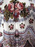 Журавушка 527-1, павлопосадский вовняну хустку з шовковою бахромою, фото 3