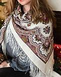 Журавушка 527-1, павлопосадский вовняну хустку з шовковою бахромою, фото 4