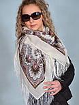 Журавушка 527-1, павлопосадский вовняну хустку з шовковою бахромою, фото 7