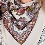 Журавушка 527-1, павлопосадский вовняну хустку з шовковою бахромою, фото 8