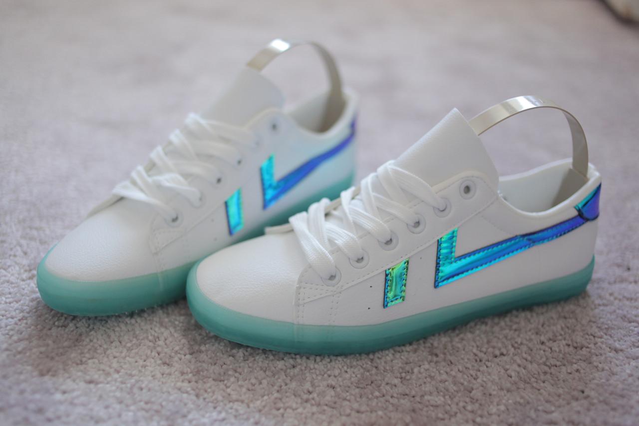Женские кроссовки кеды белые в стиле Adidas на салатовой подошве 36-39