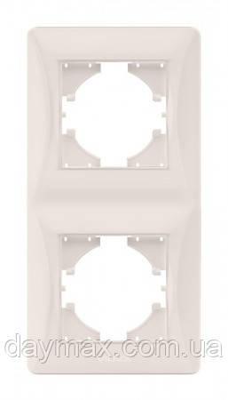 VIDEX BINERA Рамка 2 поста вертикальная кремовая