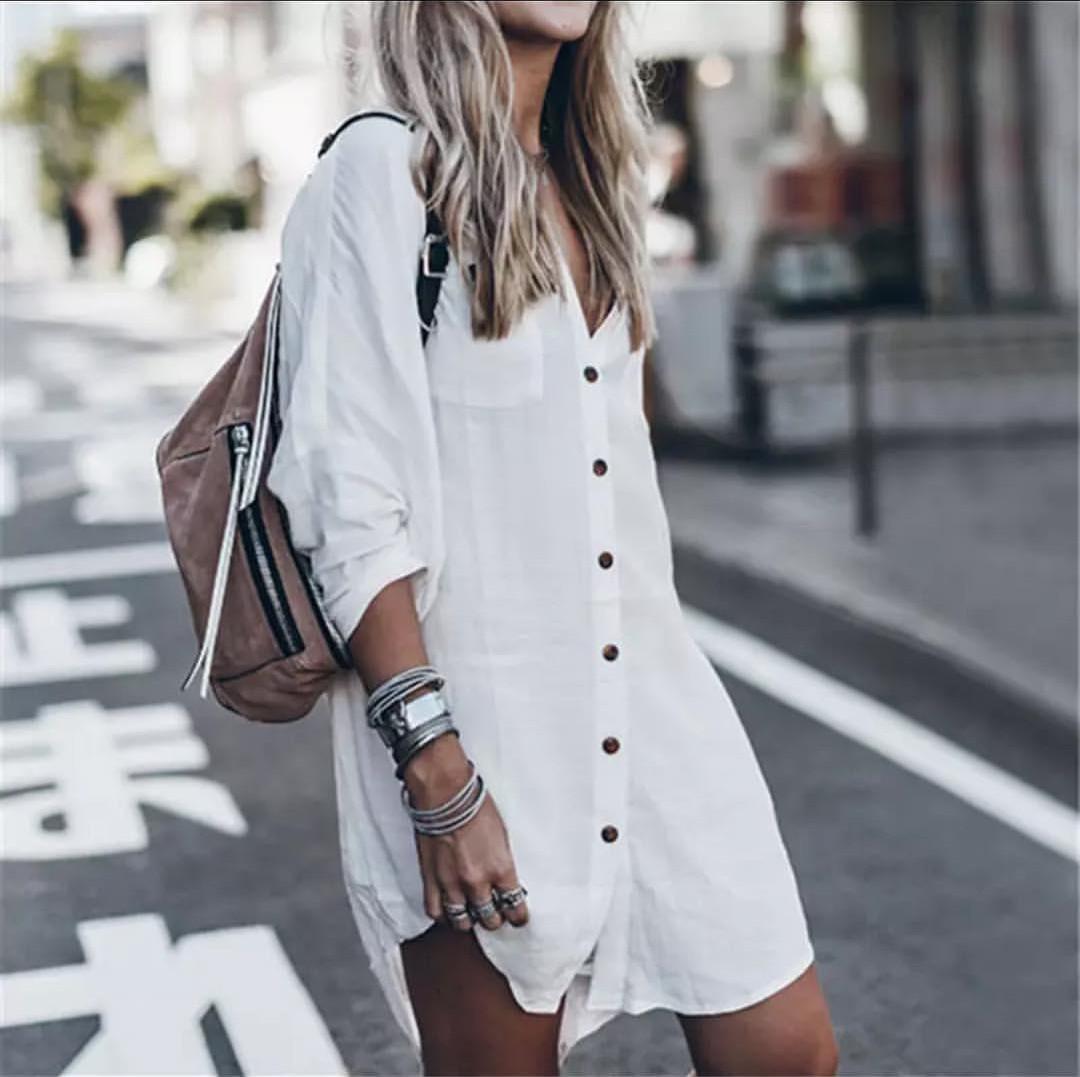 Пляжная рубашка белая коттон Туника короткая с темными пуговицами с воротником и карманами 146-62