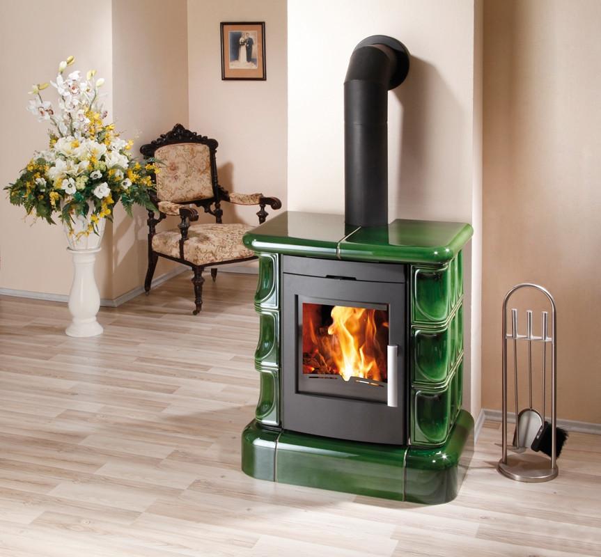 Кафельная печка на дровах ( Каминофен ) Haas+Sohn Manta Top Зеленая.