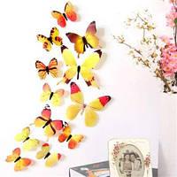 (12 шт) Набор бабочек 3D на скотче, ЖЕЛТЫЕ цветные