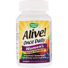 """Мультивитамины для женщин Nature's Way """"Alive!"""" Women's, высокоусвояемый комплекс (60 таблеток)"""