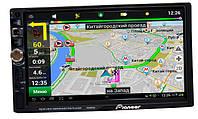 Автомагнитола Pioneer 7026 GPS, 2DIN, BT, SD, USB,AUX,Fm+ПУЛЬТ 7023 на РУЛЬ 2
