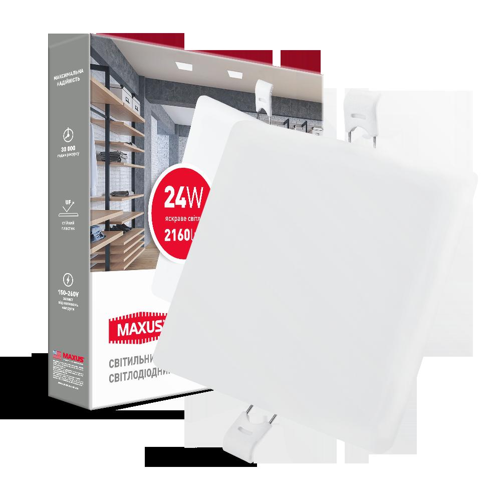 Світлодіодний світильник врізний 1-MSP-2441-S MAXUS SP edge 24W 4100К Квадрат