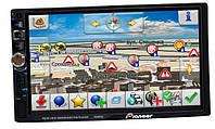 Автомагнитола Pioneer 7026 GPS, 2DIN, BT, SD, USB,AUX,Fm+ПУЛЬТ 7023 на РУЛЬ 4