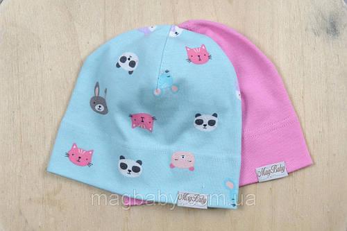 """Набор трикотажных шапок """"Панда и Ко"""" для девочек с 6 месяцев (р. 42-54 см) ТМ MagBaby 101176"""