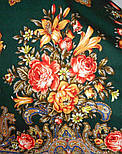 Донские зори 1801-17, павлопосадский платок шерстяной (двуниточная шерсть) с шелковой вязаной бахромой, фото 4