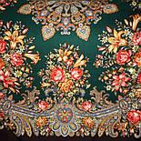 Донские зори 1801-17, павлопосадский платок шерстяной (двуниточная шерсть) с шелковой вязаной бахромой, фото 5