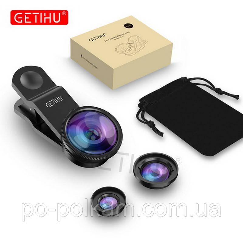 Набор из трех линз GETIHU  Wide , Angle Macro, Fisheye Lens , объектив на телефон iPhone, Smartphone, фото 1
