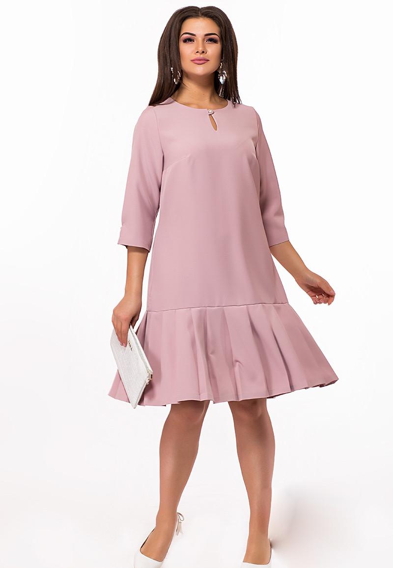 / Размер 48,50,52,54 / Женское неотразимое платье 29214 / цвет пудра
