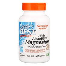"""Хелатный магний Doctor's Best """"High Absorption Magnesium"""" высокоусвояемый, 100 мг (120 таблеток)"""