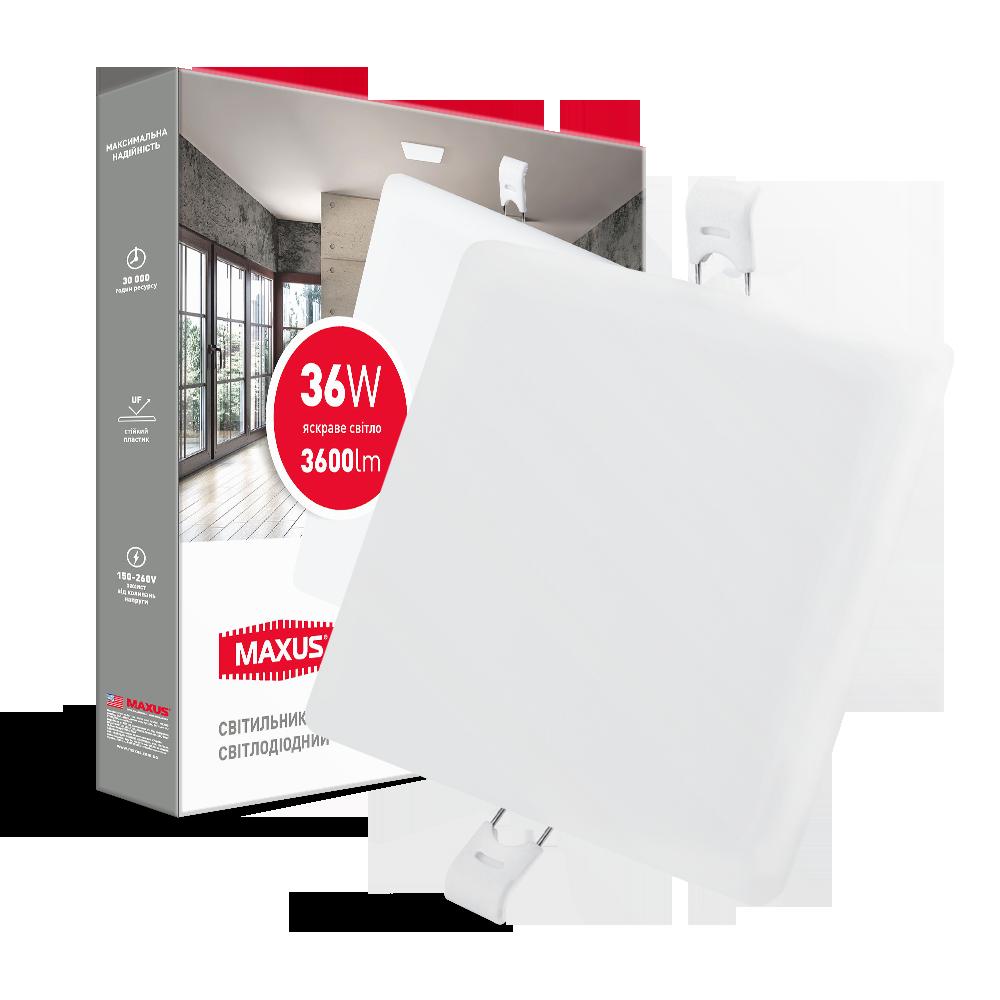 Светодиодный врезной светильник 1-MSP-3641-S MAXUS SP edge 36W 4100К Квадрат