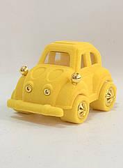 """Футляр для кільця оксамитовий """"Машинка"""" жовтий 138"""