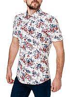 Рубашка мужская белая с цветочным принтом короткий рукав полуприталенная оригинал Pierre Cardin