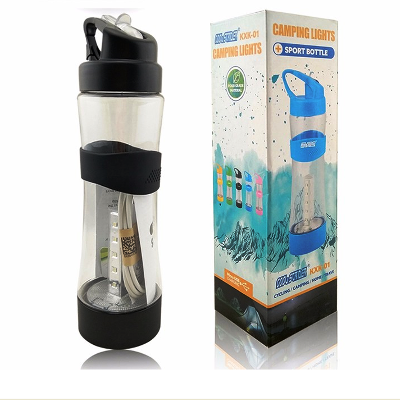 Спортивная бутылка для воды фляга с LED фонарем LT01 для путешествия кемпинговая