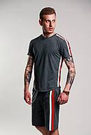 Футболка мужская летняя стильная с лампасами, цвет темно-серый