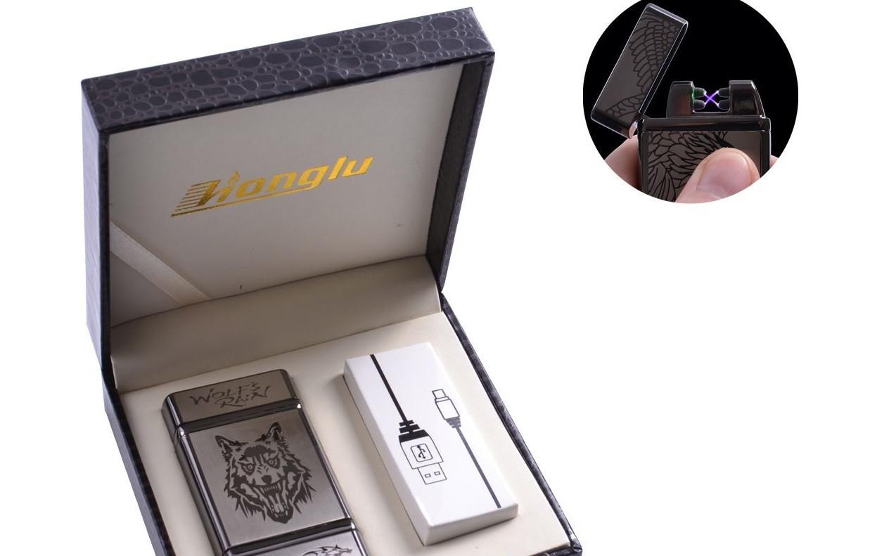 """USB зажигалка в подарочной кожаной коробке """"Wolf"""" (Электроимпульсная - две перекрещенные молнии) №4842-4"""