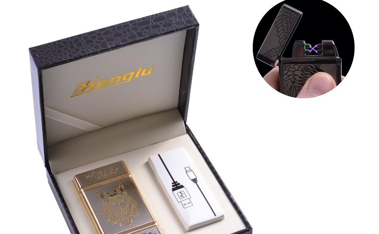 """USB зажигалка в подарочной кожаной коробке """"Wolf"""" (Электроимпульсная - две перекрещенные молнии) №4842-3"""