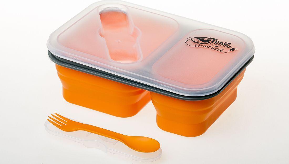 Контейнер силиконовый на 2 отсека Tramp (900ml) с ловилкой Orange (TRC-090-orange)